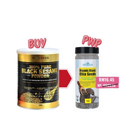 Picture of Biogreen 100% Pure Black Sesame Powder 300g (HALAL) PWP Etblisse Organic Black Chia Seed 220g (HALAL)