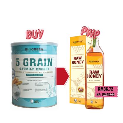 Picture of Biogreen 5 Grain Oatmilk Energy, 850g (HALAL) PWP Biogreen Raw Honey, 1kg