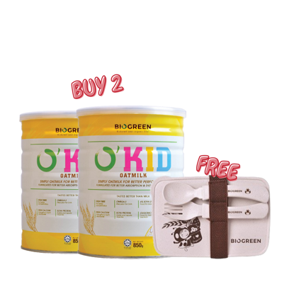 Picture of 2 x Biogreen O'Kid Oatmilk 850g (HALAL) Free BPA-Free Rice Husk Fiber Lunch Box