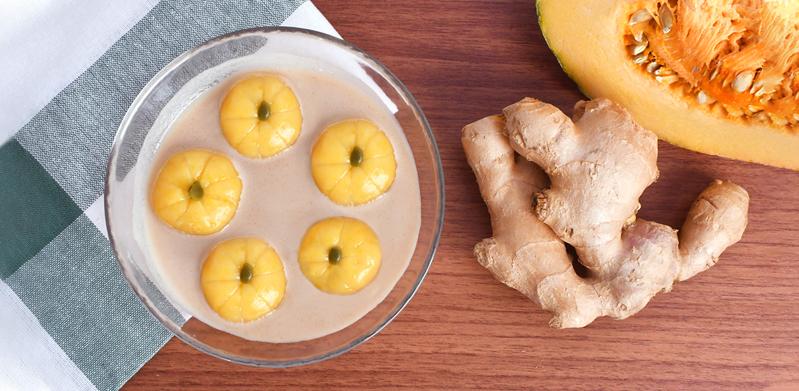 Pumpkin Tang Yuan in Ginger Soymilk
